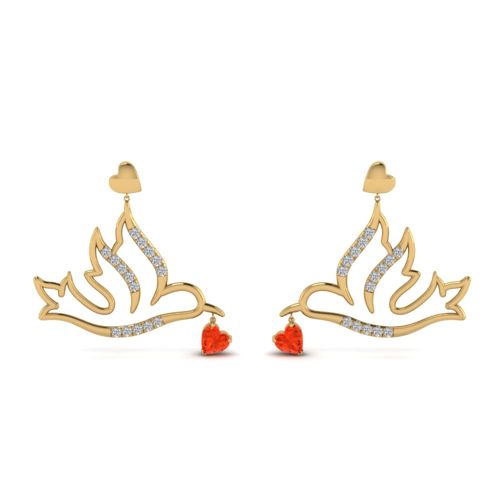 Orange Topaz Bird Drop Earring