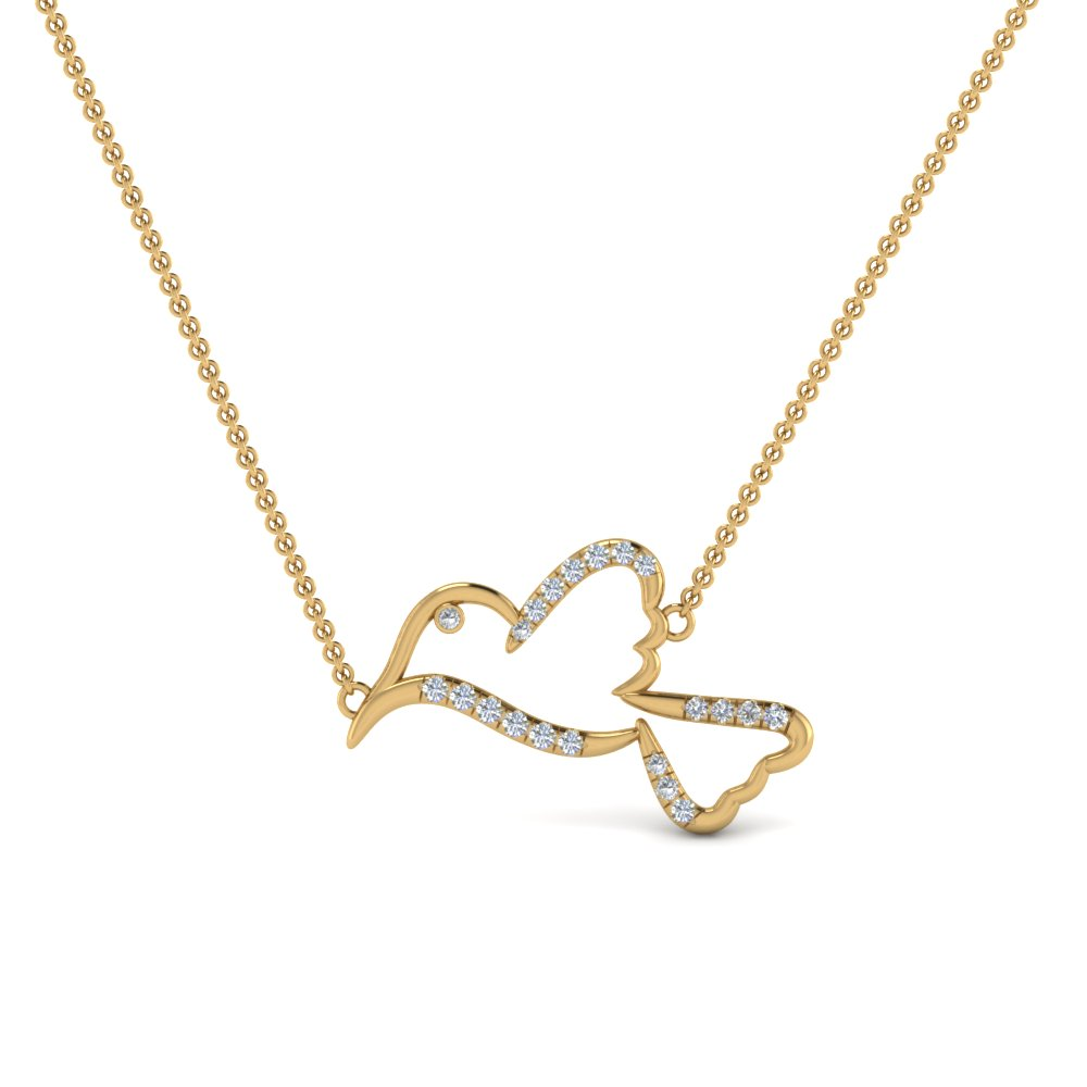 diamond bird pendant necklace in FDPD8941ANGLE1 NL YG