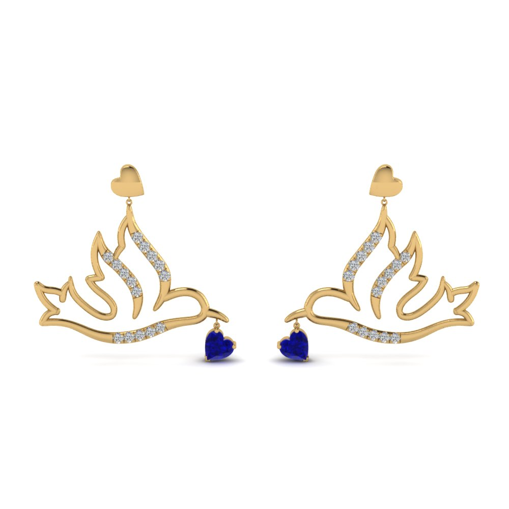 diamond bird sapphire drop earring in FDEAR8944GSABLANGLE1 NL YG