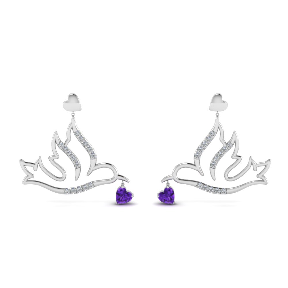 diamond bird violet topaz drop earring in FDEAR8944GVITOANGLE1 NL WG