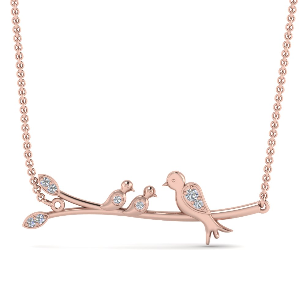 Diamond Branch Bird Necklace