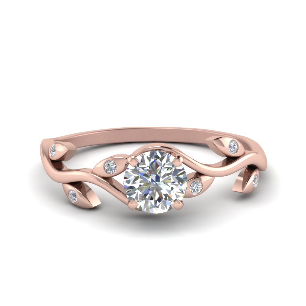 Round Diamond Leaf Engagement Ring
