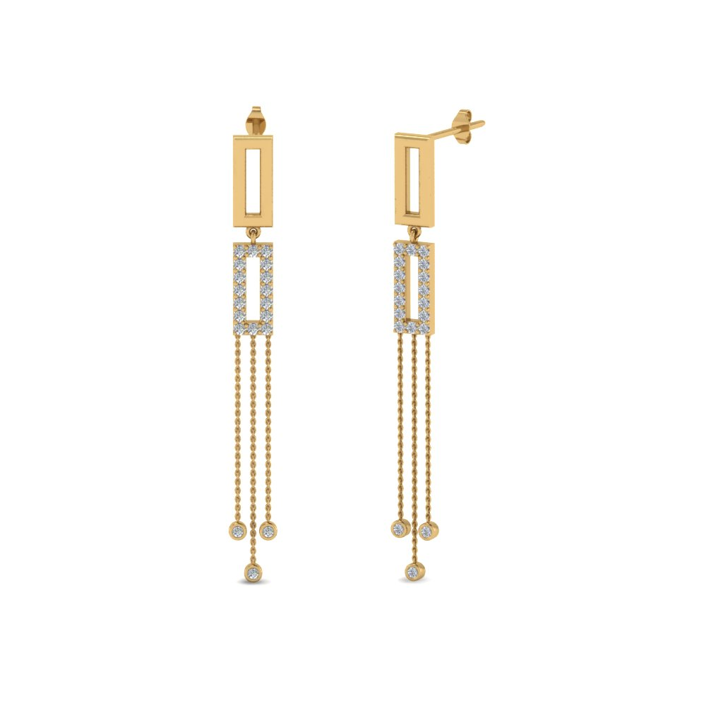 Diamond Drop Chain Earring