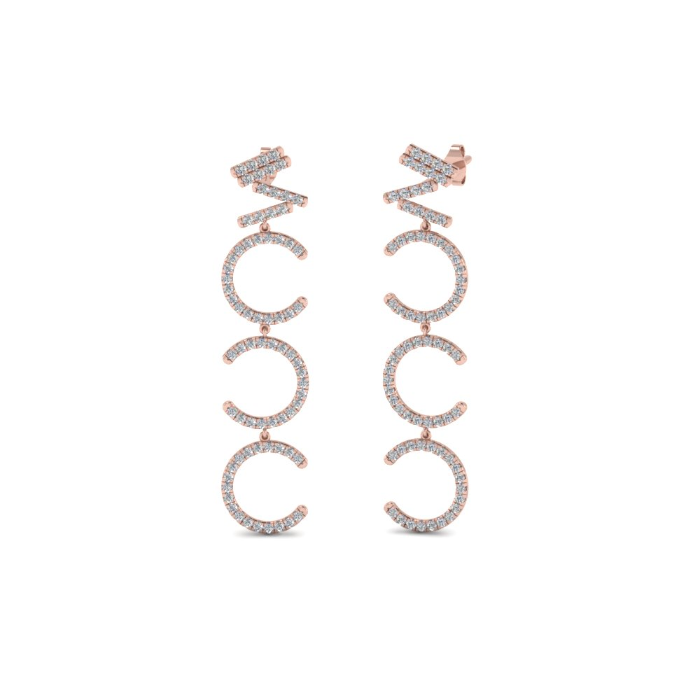 Diamond Cascade Earring For Women In 14K Rose Gold