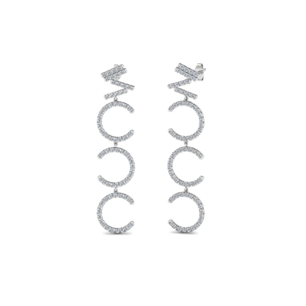 diamond cascade earring for women in FDEAR8402 NL WG