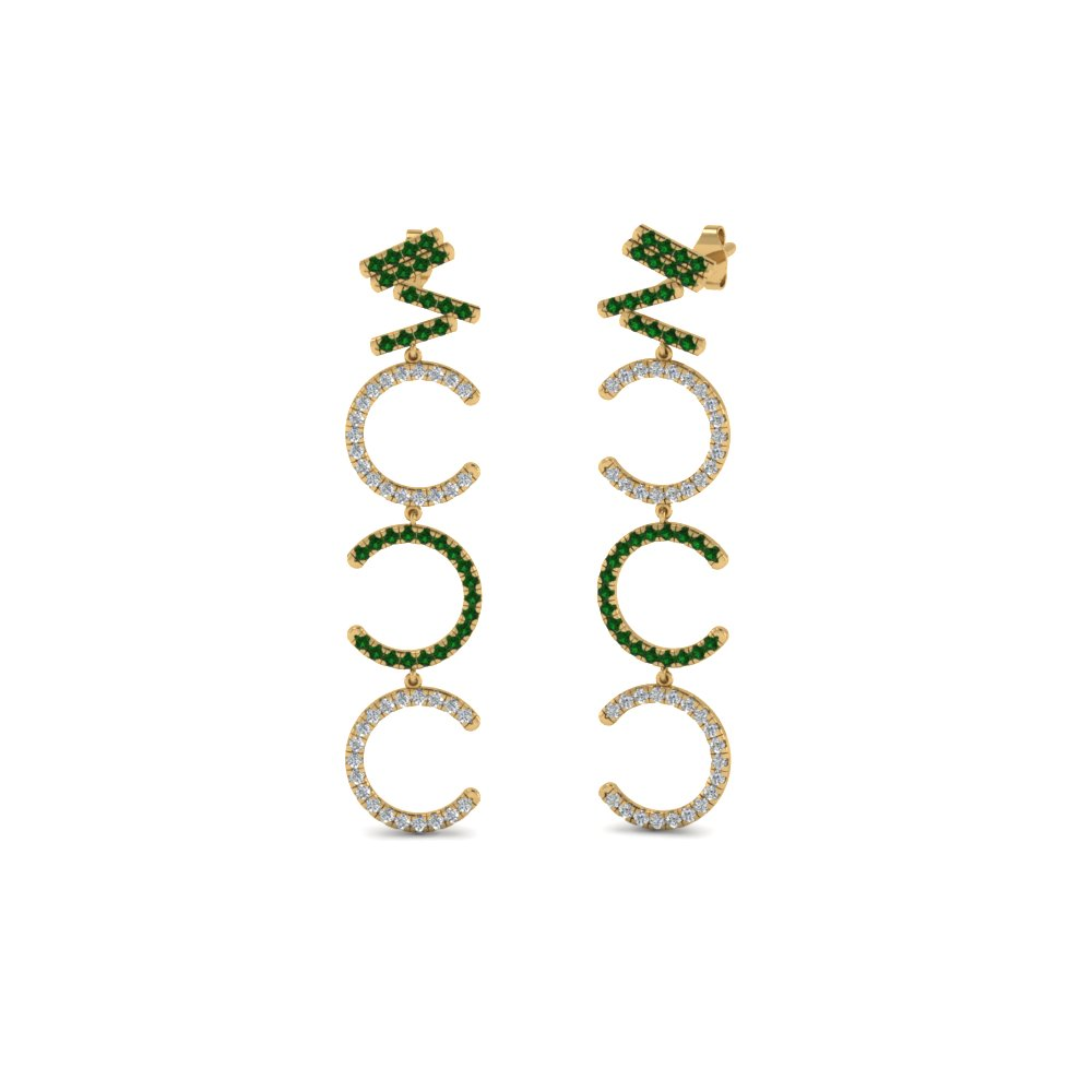 Diamond Cascade Earring For Women With Emerald In 18K Yellow Gold