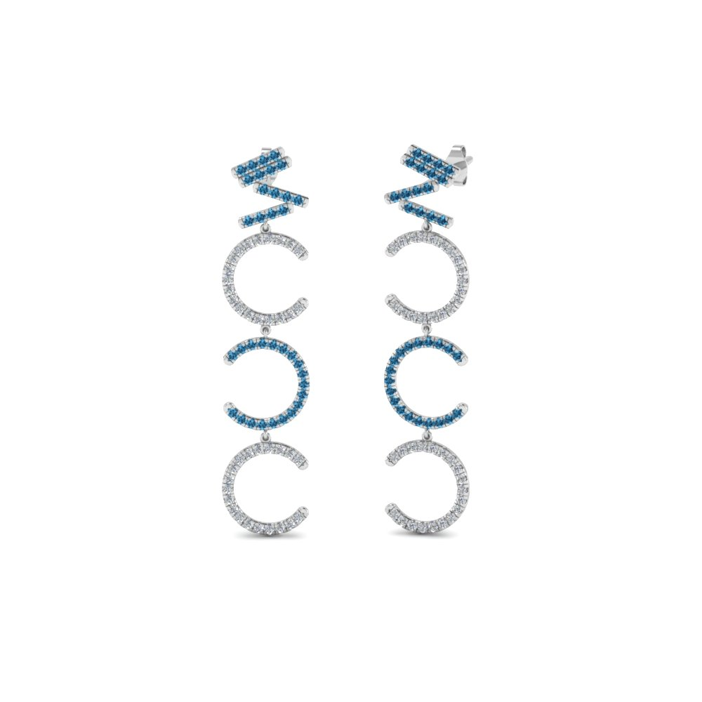 Diamond Cascade Earring For Women With Ice Blue Topaz In 950 Platinum