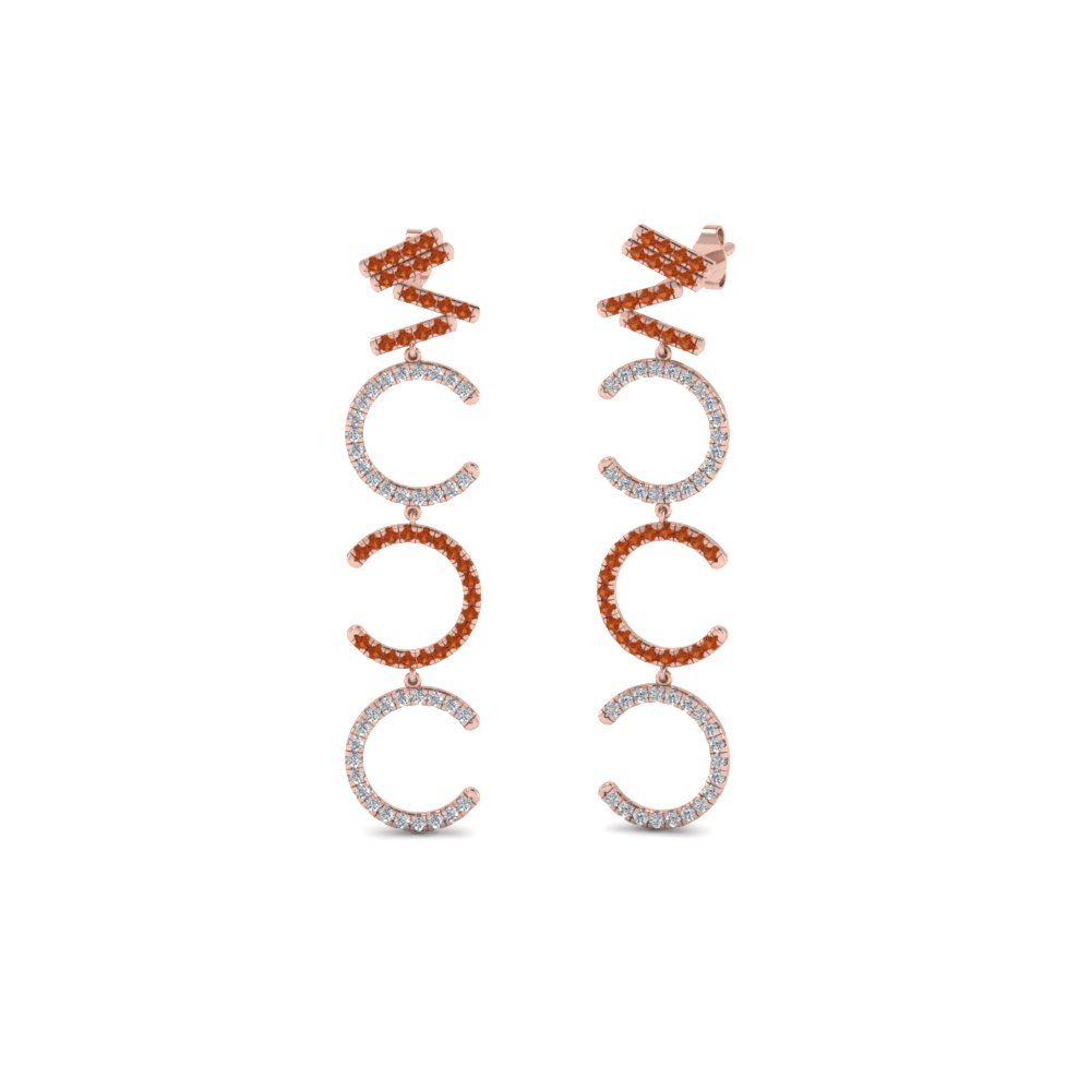 Diamond Cascade Earring For Women With Orange Sapphire In 14K Rose Gold