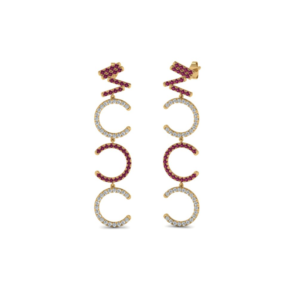 Diamond Cascade Earring For Women With Pink Sapphire In 14K Yellow Gold