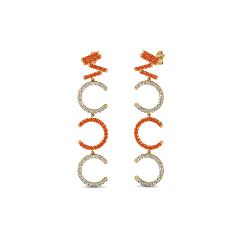Diamond Cascade Earring For Women With Poppy Topaz In 14K Yellow Gold