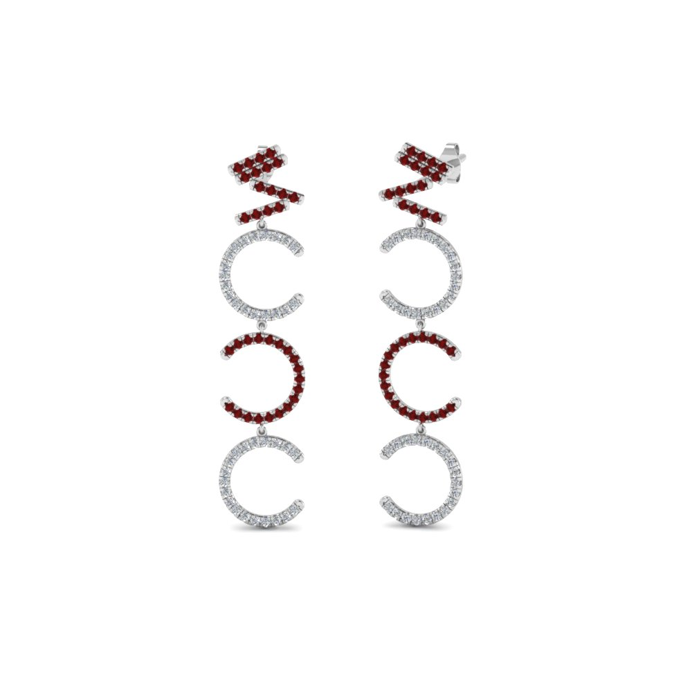 Diamond Cascade Earring For Women With Ruby In 18K White Gold
