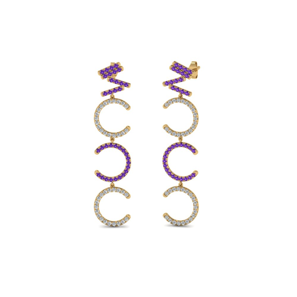 Diamond Cascade Earring For Women With Violac Topaz In 14K Yellow Gold