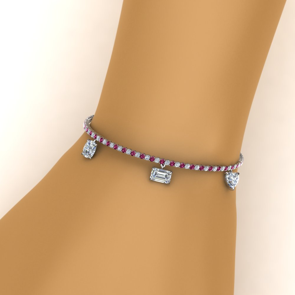 diamond charms tennis bracelet with pink sapphire in FDBRC8725GSADRPIHAND NL WG