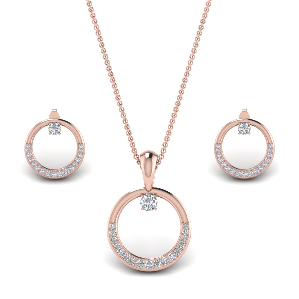 Diamond Circle Earring And Pendant Set