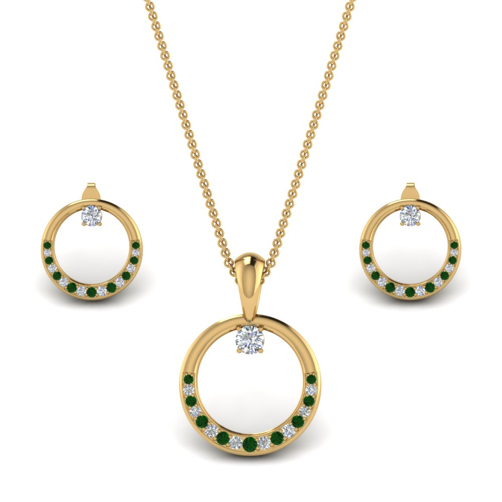 diamond-circle-earring-and-pendant-set-with-emerald-in-FD9041SETGEMGRANGLE1-NL-YG
