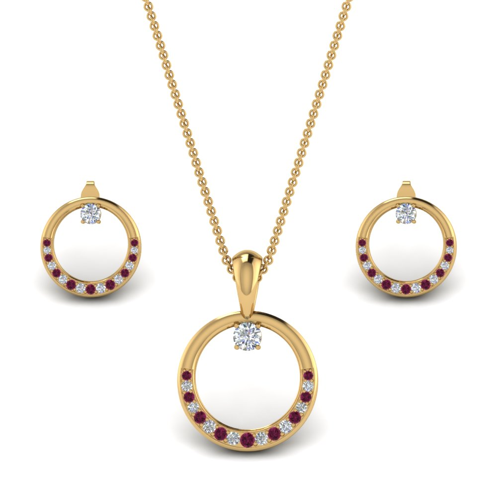 Circle Earring And Pendant Set