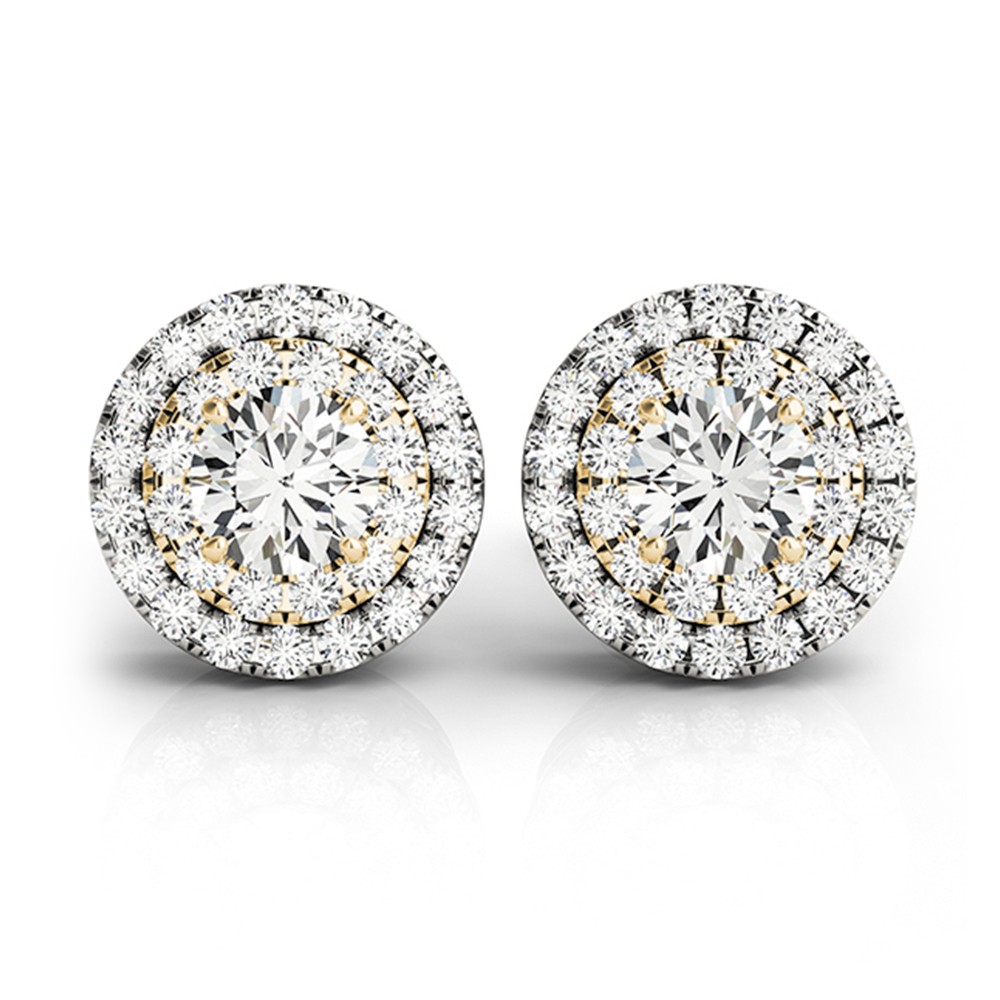 diamond double halo stud earring in FDOEAR41002ANGLE1 NL YG