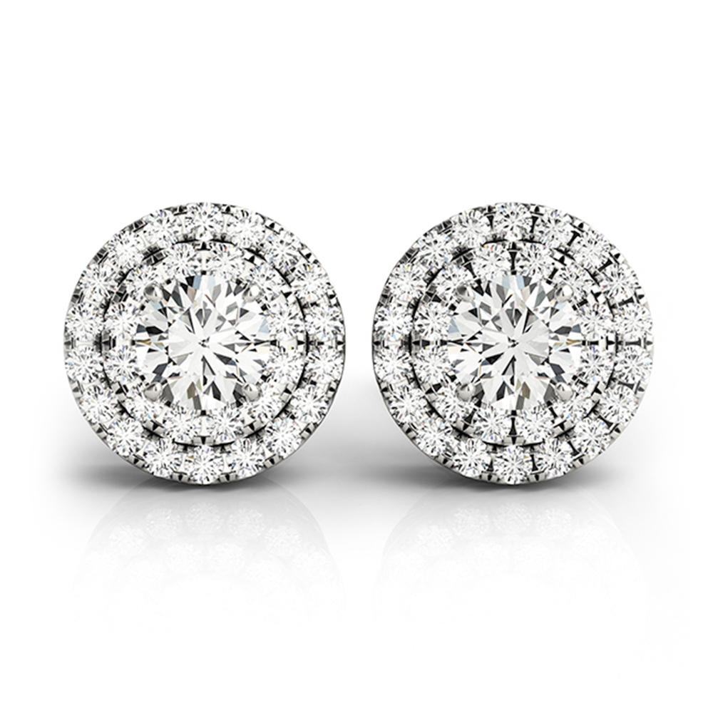 Two Tone Double Halo Platinum Studs