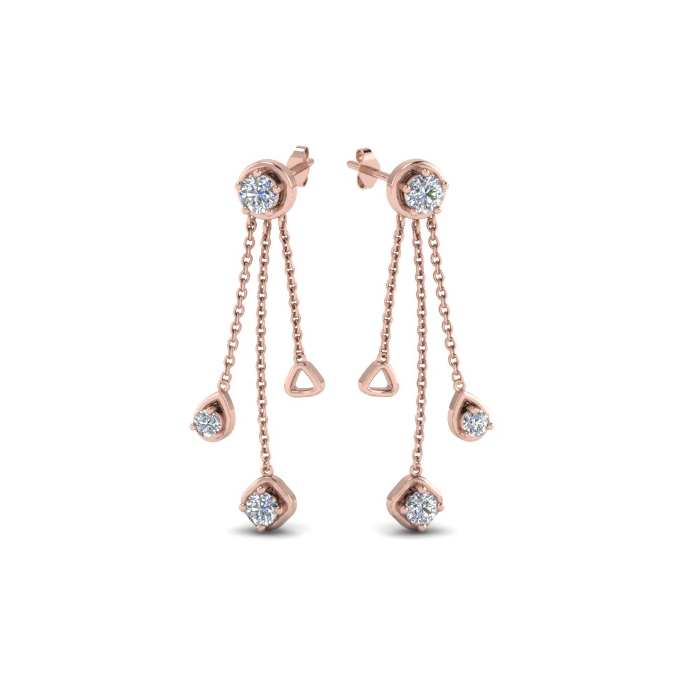 Diamond Drop Chain Earring In 14K Rose Gold