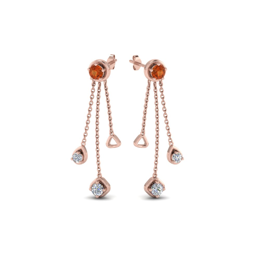 Orange Sapphire Chain Drop Earring