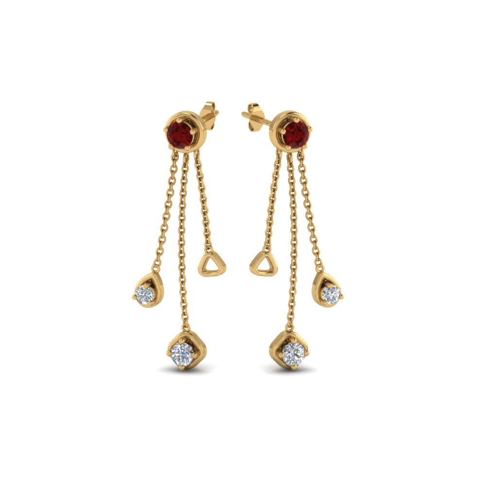 Ruby Drop Earrings Gold