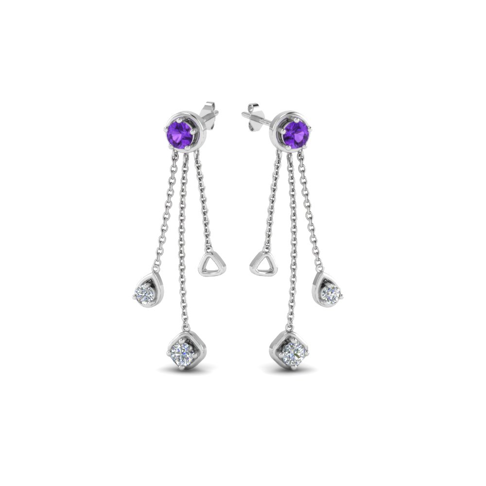 diamond drop chain earring with violet topaz in 14K white gold FDCMJ28251EGVITOANGLE1 NL WG