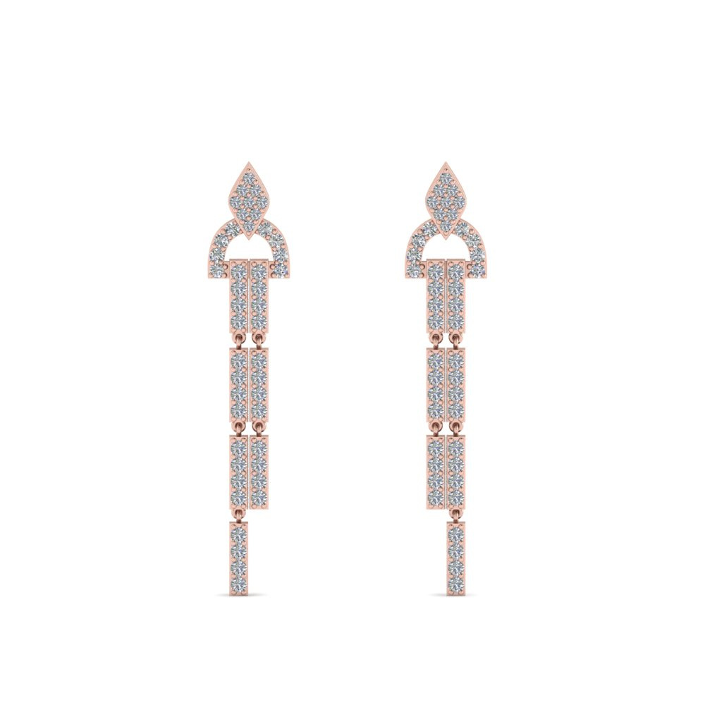 diamond drop dangle earring in 14K rose gold FDEAR8481ANGLE1 NL RG