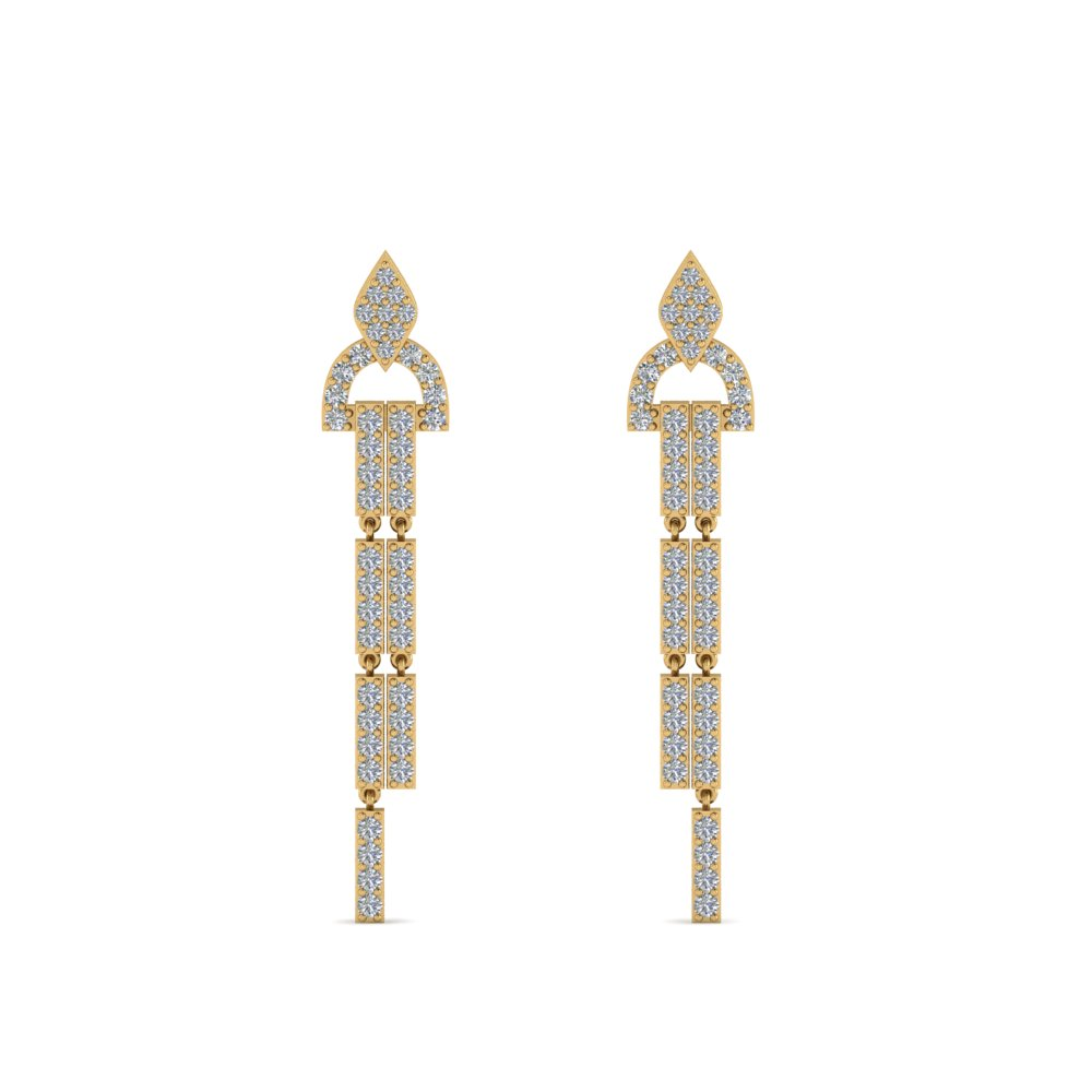 diamond drop dangle earring in 14K yellow gold FDEAR8481ANGLE1 NL YG