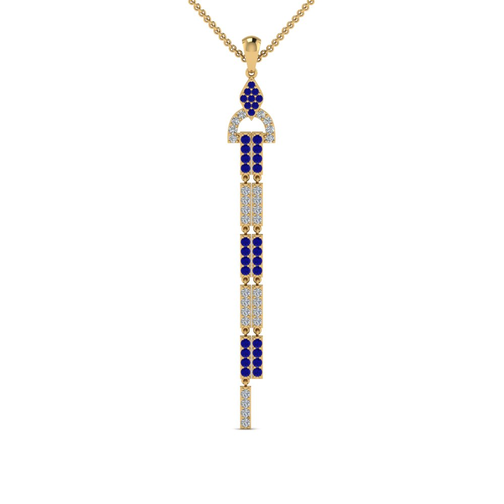 diamond drop dangle necklace with sapphire in FDPD8477GSABLANGLE1 NL YG