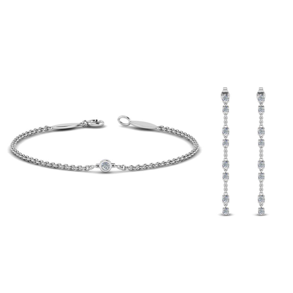 Diamond Earring With Matching Bracelet Set