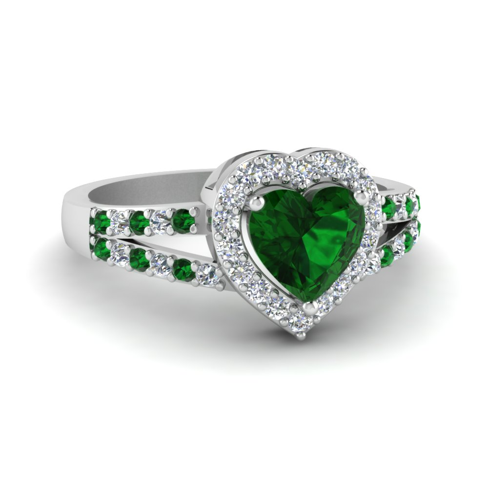 Emerald Ring With Heart Halo