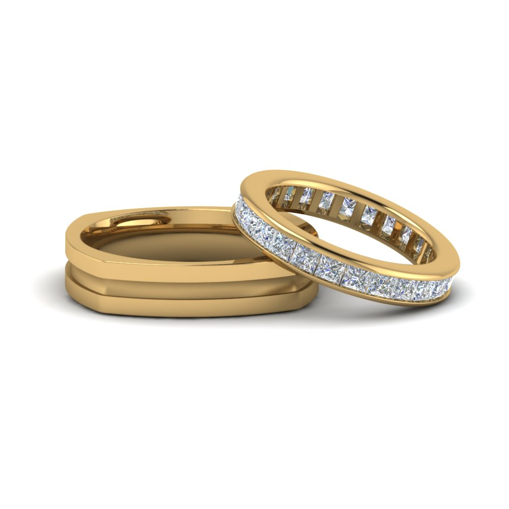 diamond eternity and comfort fit anniversary band gifts for him and her in 14K yellow gold FD8133B NL YG