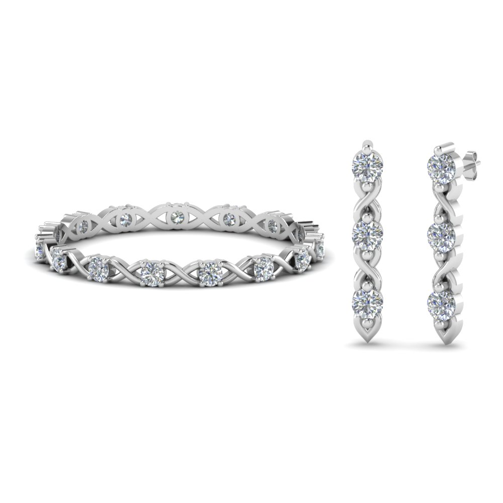 diamond eternity band with earring sale in 14K white gold FD8535 NL WG
