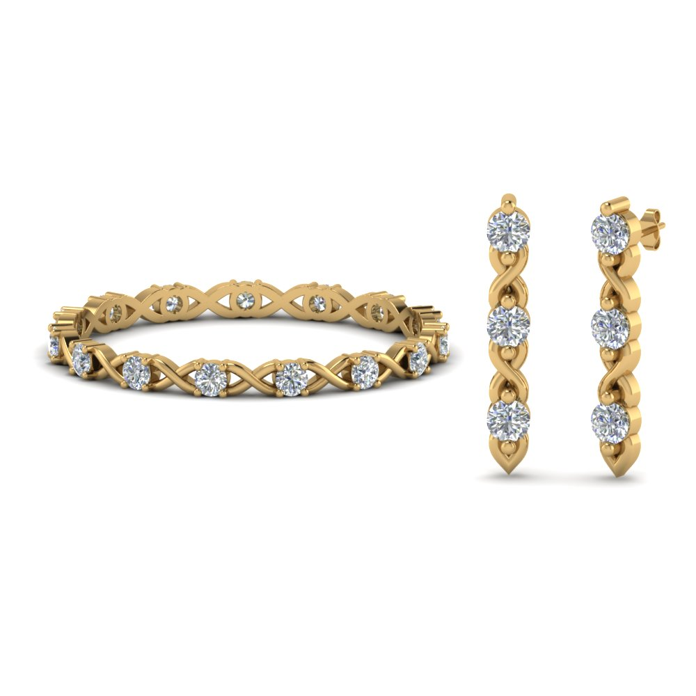 diamond eternity band with earring sale in FD8535 NL YG