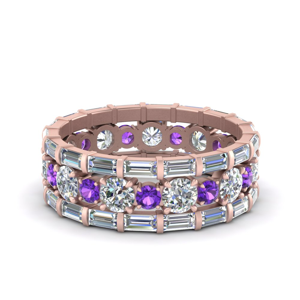 diamond eternity stacking band with baguette and purple topaz in FD9119GVITOANGLE3 NL RG