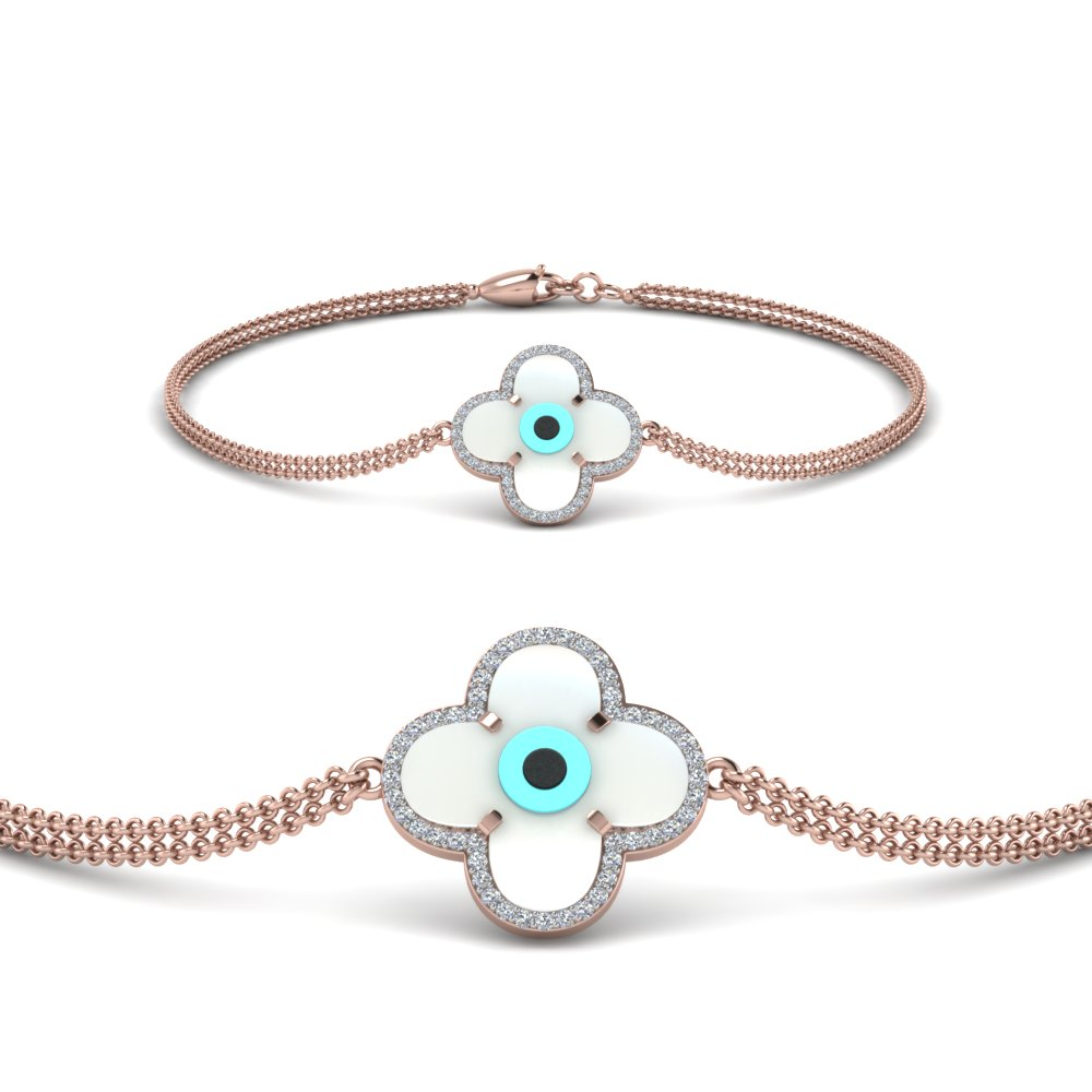 Diamond Flower Evil Eye Bracelet