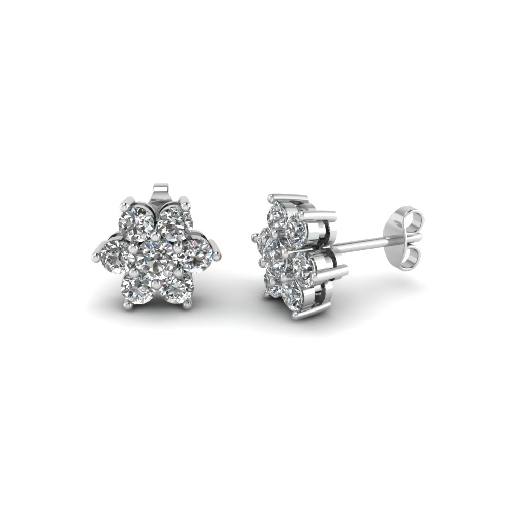 Diamond Flower Stud Women Earring In 18k White Gold Fdear1081ge Nl Wg