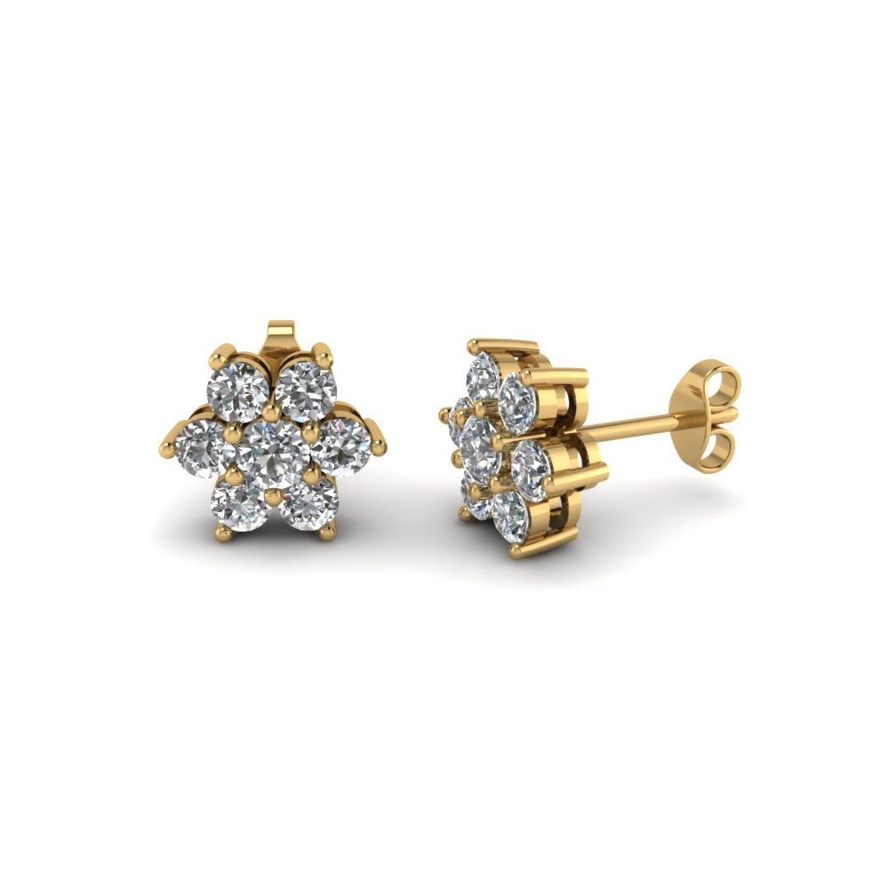 Diamond Flower Stud Women Earring In 18k Yellow Gold Fdear1081ge Nl Yg