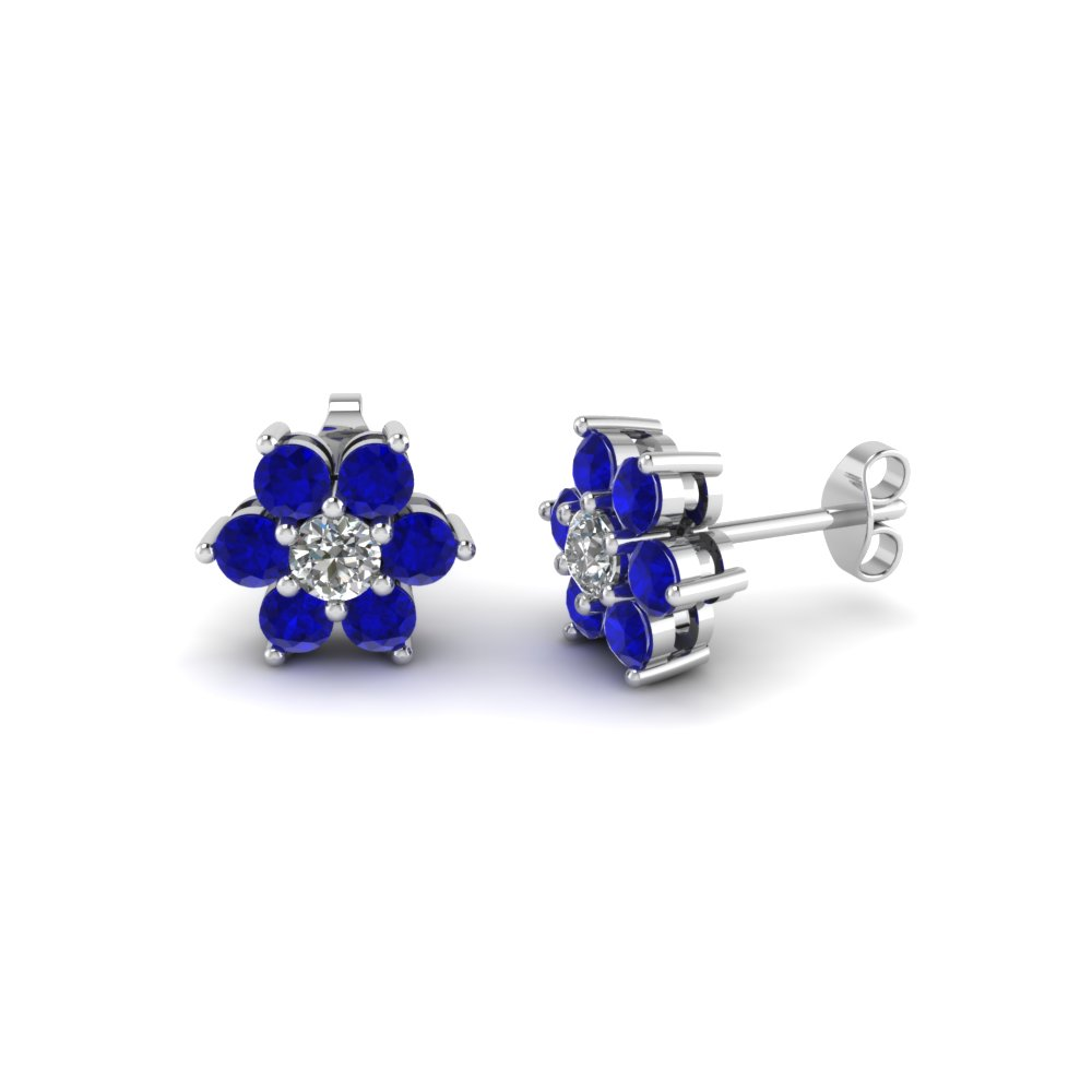 diamond flower stud women earring with sapphire in 14K white gold FDEAR1081GSABL NL WG