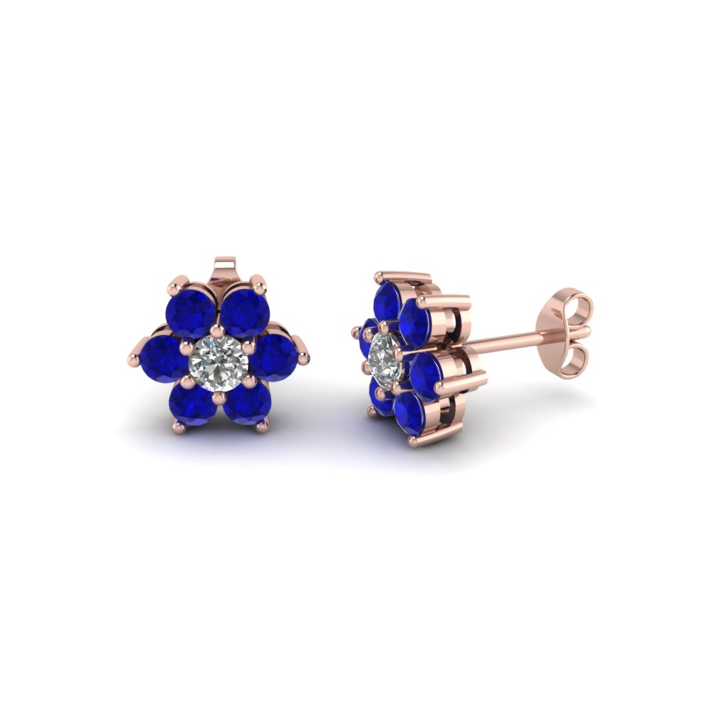 Diamond Flower Stud Women Earring With Blue Shire In 18k Rose Gold Fdear1081gegsabl Nl Rg