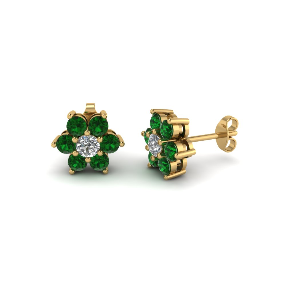 Diamond Flower Stud Women Earring With Emerald In 14k Yellow Gold Fdear1081gegemgr Nl Yg