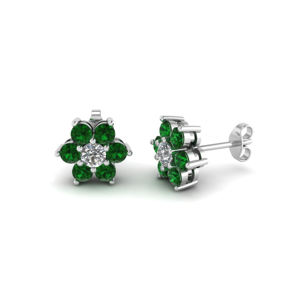 diamond flower stud women earring with emerald in 18K white gold FDEAR1081GEMGR NL WG