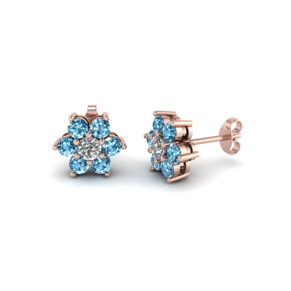 diamond flower stud women earring with blue topaz in 14K rose gold FDEAR1081GICBLTO NL RG