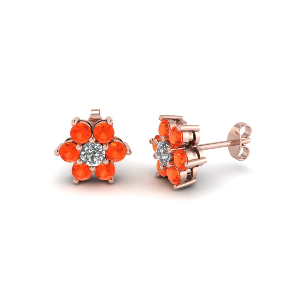 Rose Gold Orange Topaz Stud Earring