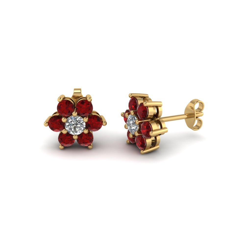 Diamond Flower Stud Women Earring With Ruby In 18k Yellow Gold Fdear1081gegrudr Nl Yg