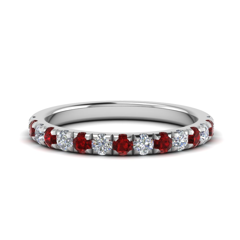 0.50 ct. diamond-french-pave-half-eternity-band-with-ruby-in-FD123883RO(2.00MM)GRUDR-NL-WG