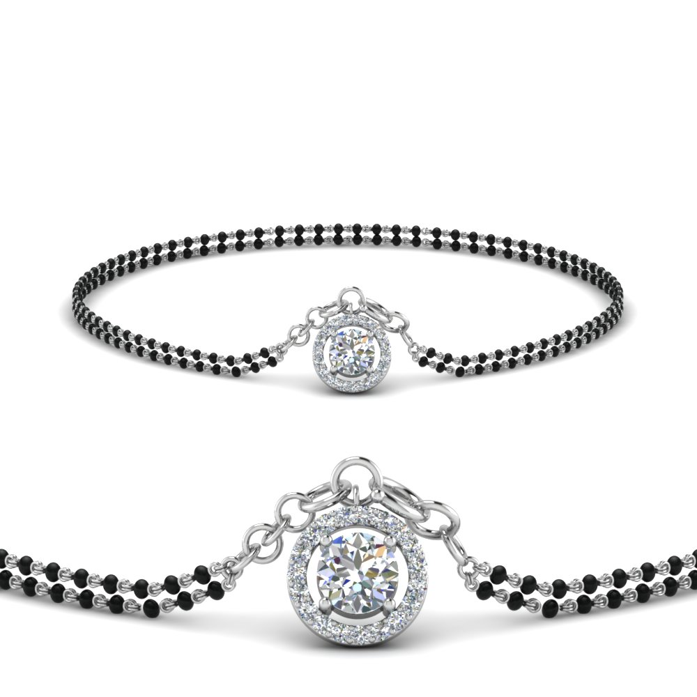 Diamond Mangalsutra Bracelet In 18K White Gold