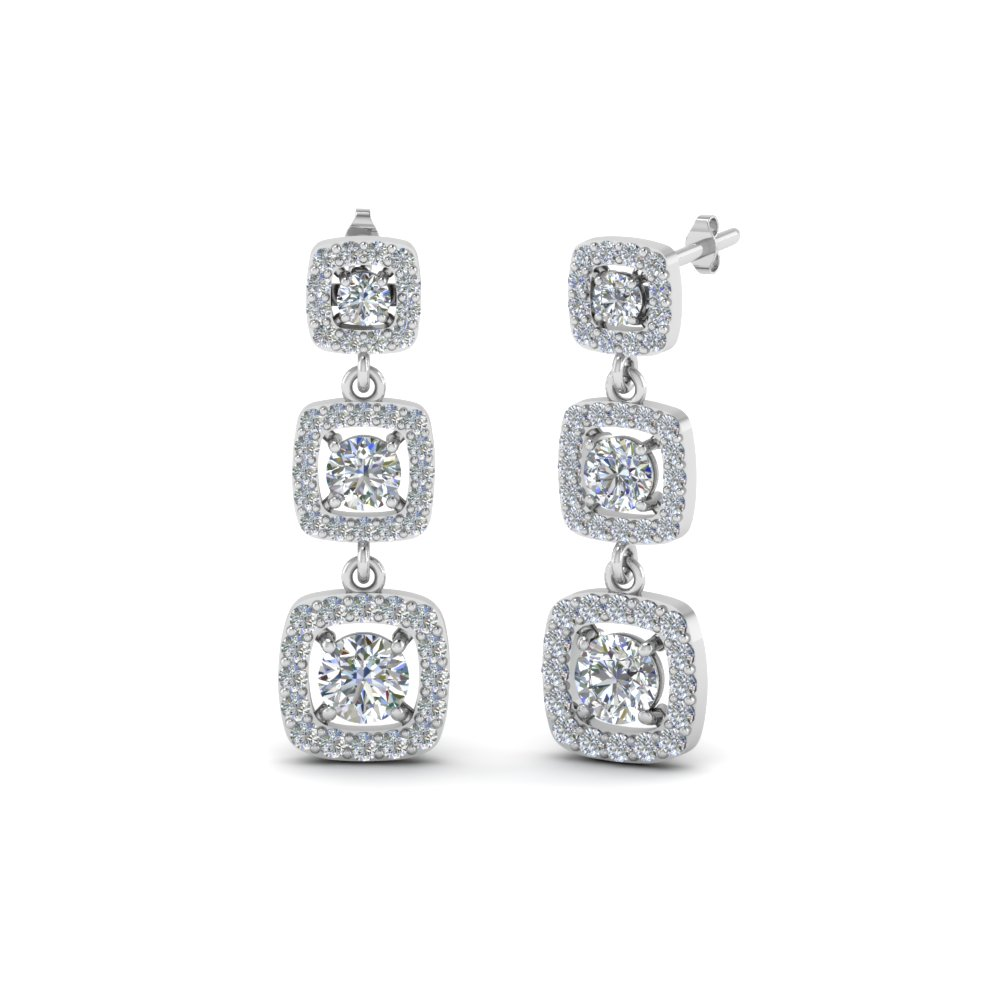 diamond halo long drop earring in FDEAR8445 NL WG