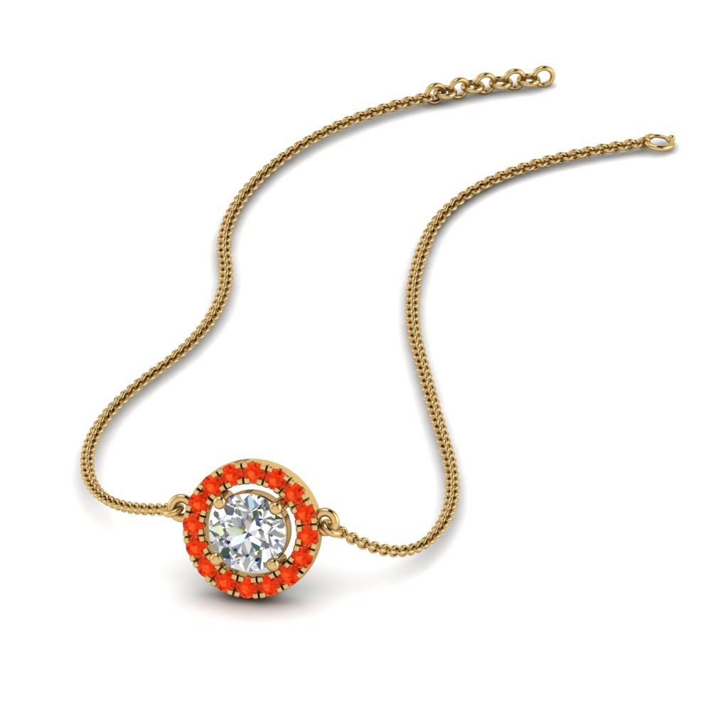 0.50 ct. diamond halo pendant necklace with orange topaz in FDPD8963GPOTO NL YG