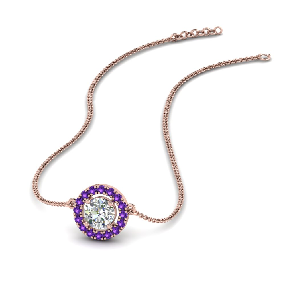 0.50 ct. diamond halo pendant necklace with purple topaz in FDPD8963GVITO NL RG